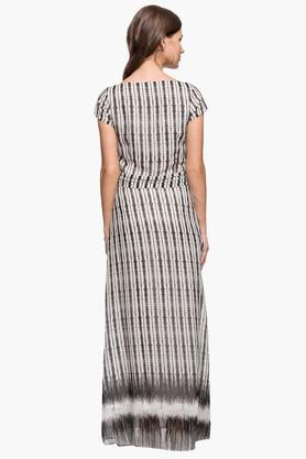 Womens Round Neck Stripe Maxi Dress
