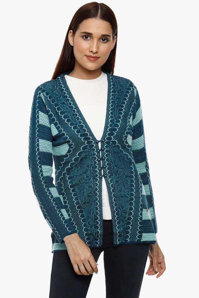 Womens V-Neck Knitted Pattern Cardigan
