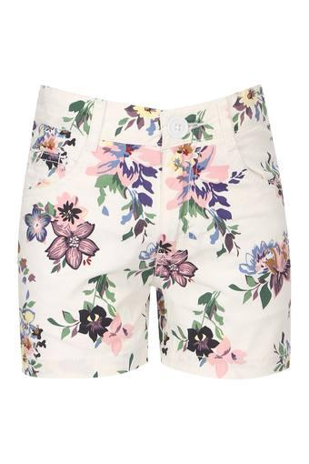 Girls 5 Pocket Floral Print Shorts