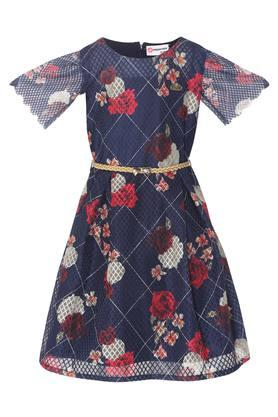 Girls Round Neck Floral Print Skater Dress with Belt