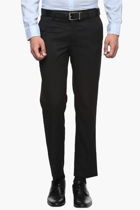 WILLS LIFESTYLE Mens Slim Fit 4 Pocket Solid Formal Trousers