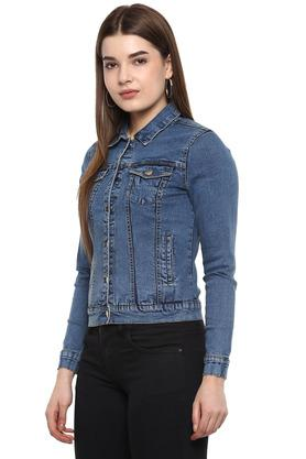 Womens Collared Rinse Wash Jacket