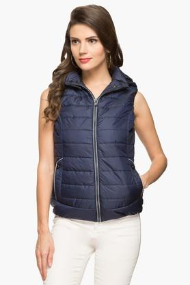 GIPSY Womens Hooded Solid Quilted Jacket