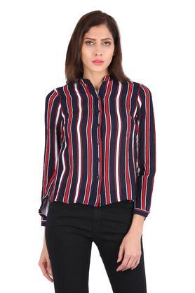 Womens Mandarin Collar Stripe Asymmetric Shirt