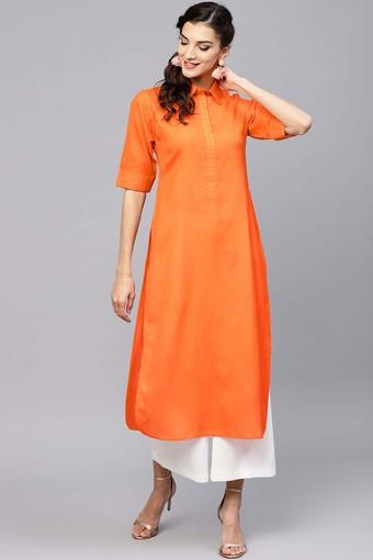 Womens Solid Pathani Kurta