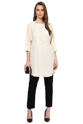 Womens Round Neck Lace Tunic