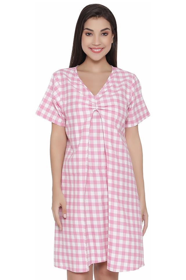 Womens V-Neck Checked Night Dress