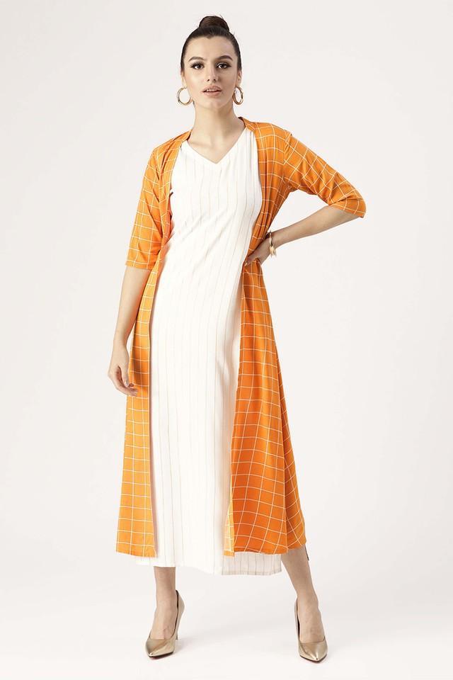 Womens V-Neck Striped A-Line Dress With Checked Shrug