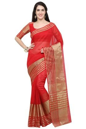 DEMARCAWomens Solid Gold Woven Saree With Blouse Piece - 204771741_9607