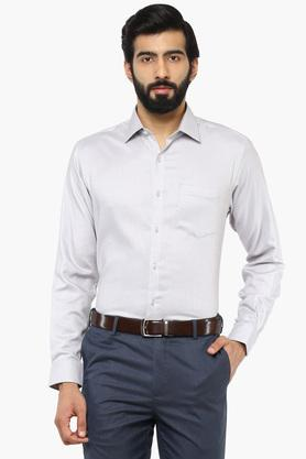 Mens Slim Collar Self Pattern Shirt (Durapress)