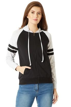 Womens Loose Fit Hooded Colour Block Jacket