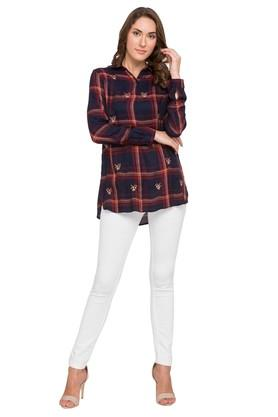 Womens Collared Checked Top