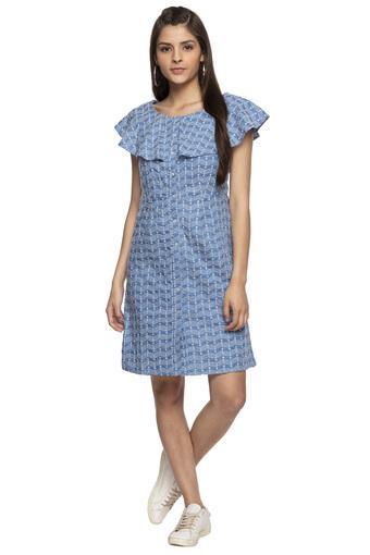 Womens Round Neck Embroidered Shirt Dress