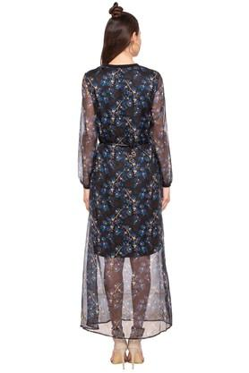 Womens Band Neck Printed Maxi Dress