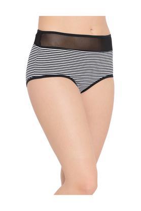 Womens High Waist Striped Hipster Briefs