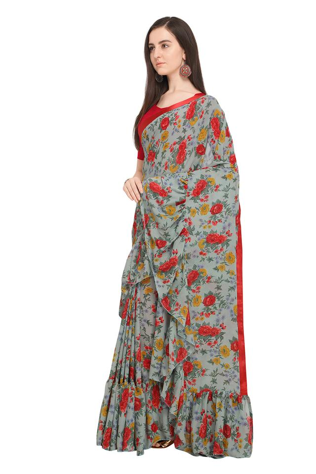Womens Floral Printed Saree with Blouse Piece