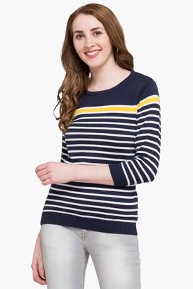 STOP Womens Round Neck Stripe Sweater - 203507778_9407