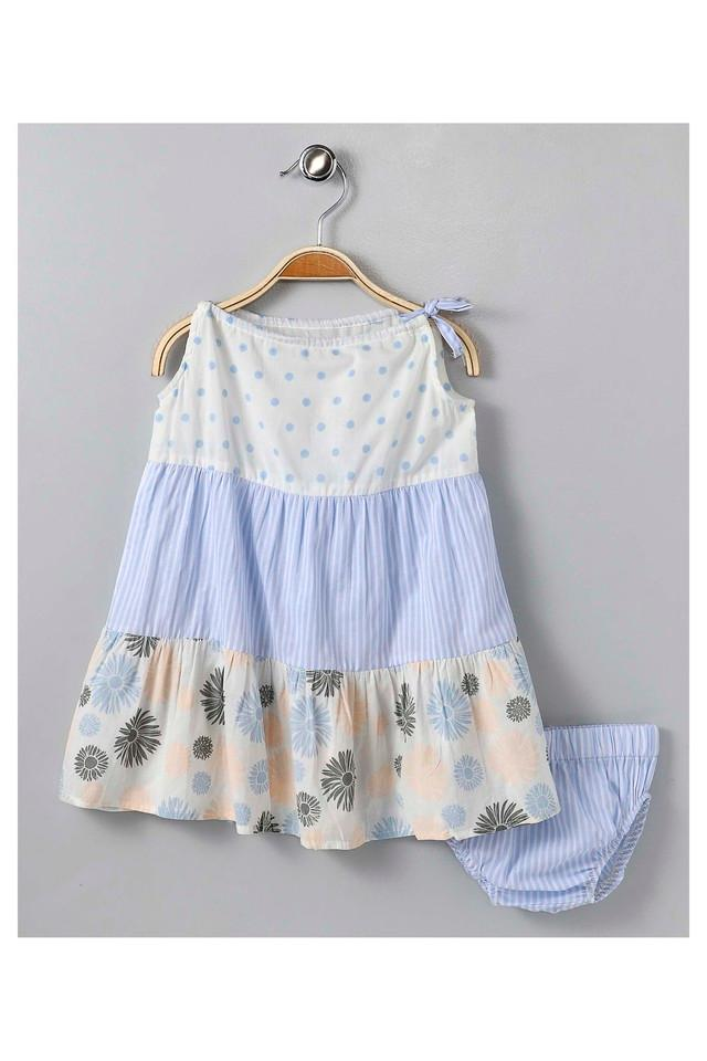 Girls Boat Neck Printed Dress and Briefs Set