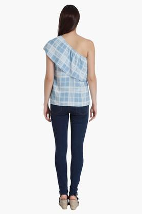 Womens Checks One Shoulder Top