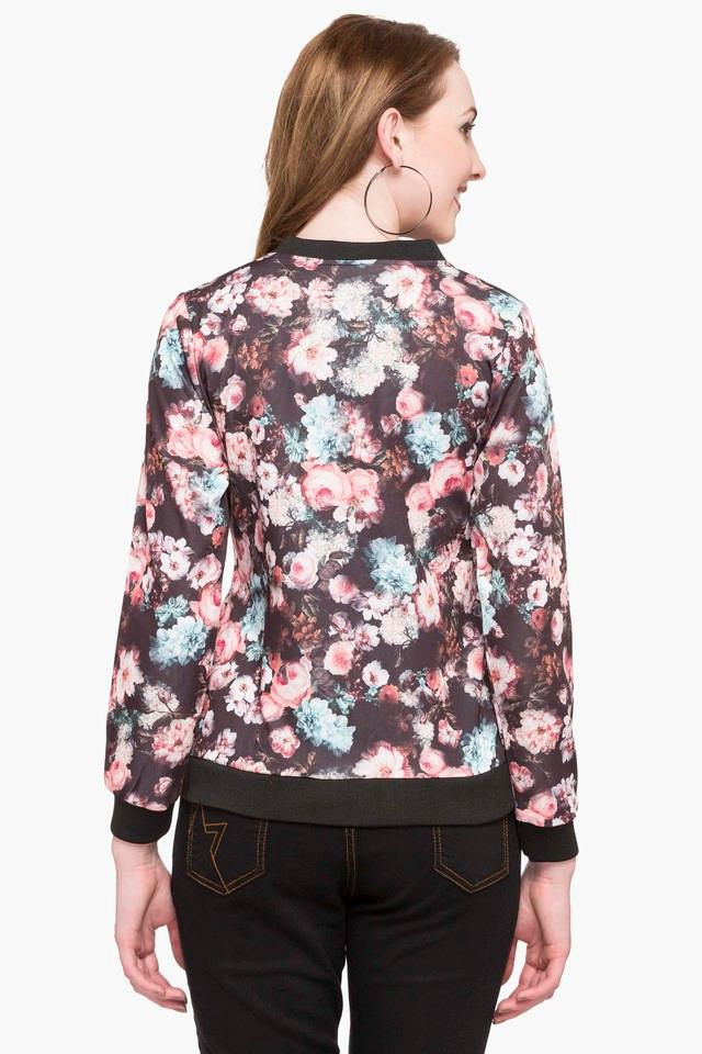 Womens Mandarin Neck Printed Jacket