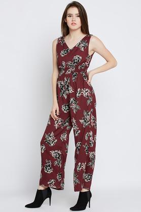 Womens V-Neck Printed Jumpsuit