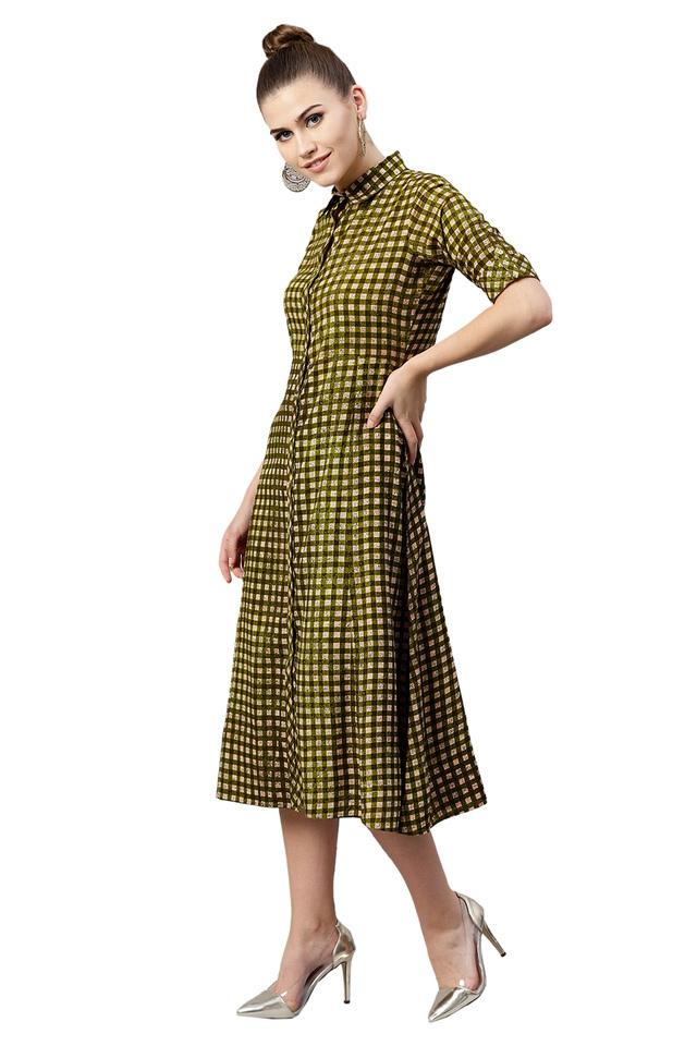 Womens Checked Casual Shirt Dress