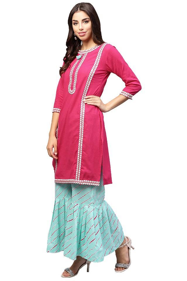 Womens Round Neck Embroidered Kurta and Sharara Pants Set