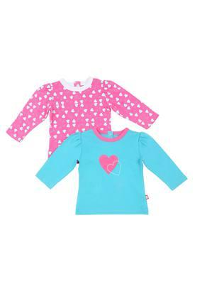 Girls Round Neck Printed Top - Pack Of 2