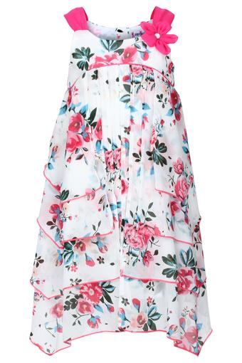 Girls Round Neck Floral Print Layered Dress