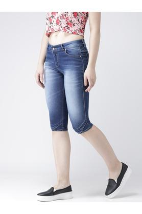 Womens Skinny Fit Heavy Wash Capris