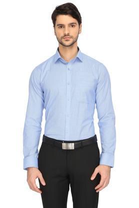 Mens Slim Collar Self Pattern Shirt