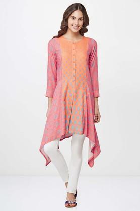 GLOBAL DESI Womens Asymmetrical Floral Print Tunic
