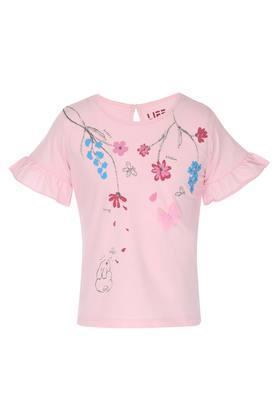 Girls Round Neck Floral Print Top
