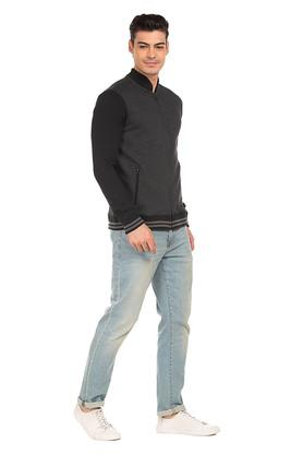 Mens Zip Through Slub Sweatshirt