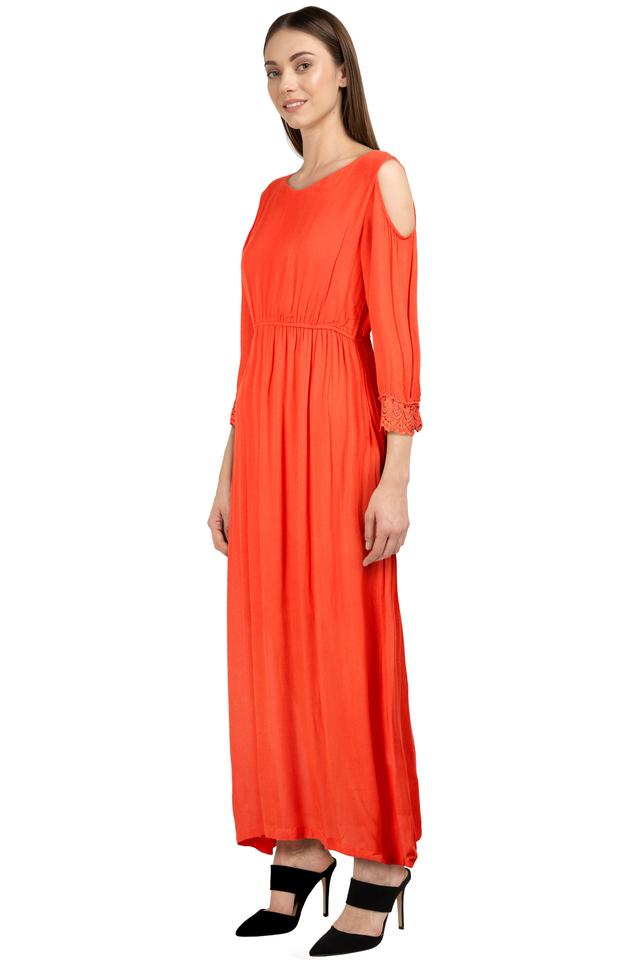 Womens Round Neck Solid Maxi Dress