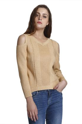 ONLY Womens Cold Shoulder Knitted Pattern Pullover