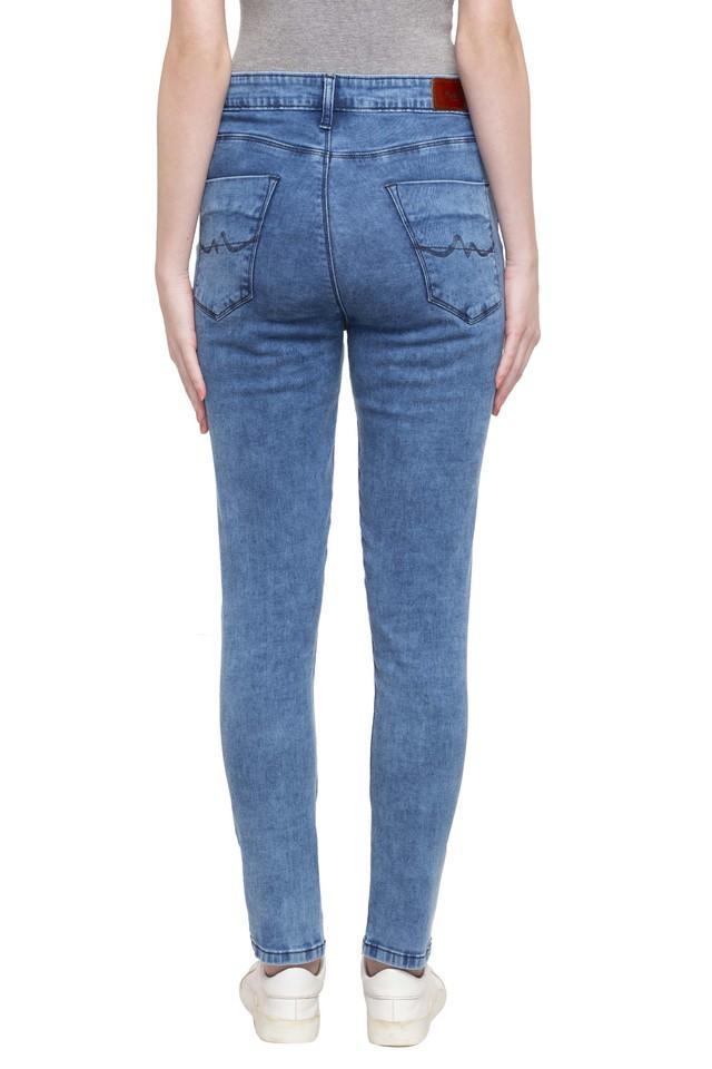 Womens 5 Pocket Acid Wash Jeans