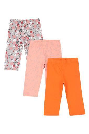 Girls Floral Print Solid and Printed Pyjama - Pack Of 3