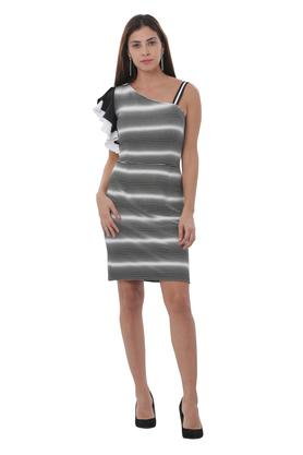 Womens One Shoulder Neck Striped Mini Dress