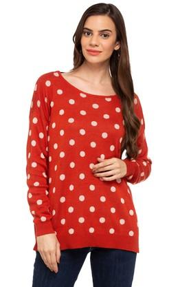 VERO MODA Womens Round Neck Polka Dot Sweater