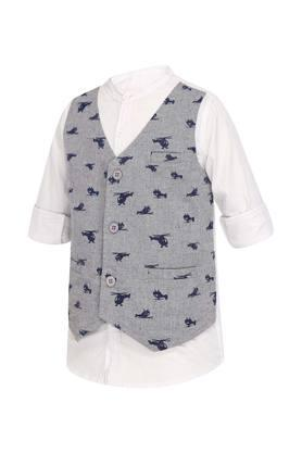 Boys Band Neck Solid Shirt With Waistcoat