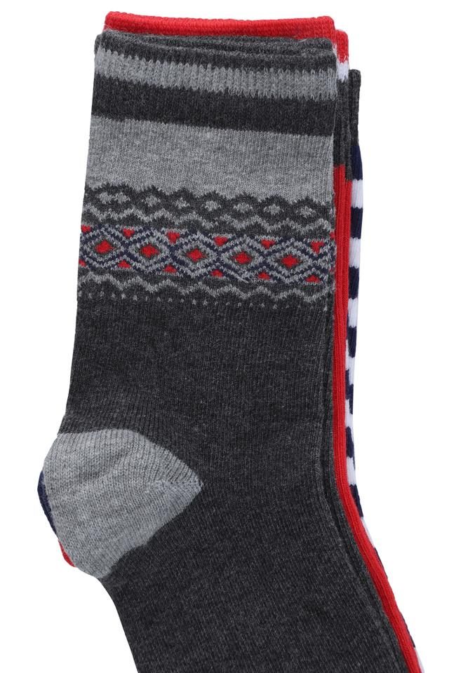 Boys Solid Printed and Stripe Socks - Pack of 3