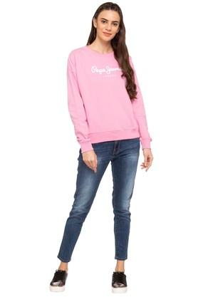 Womens Round Neck Graphic Print Sweatshirt