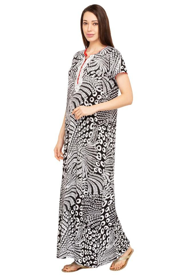 Womens Notched Neck Printed Gown