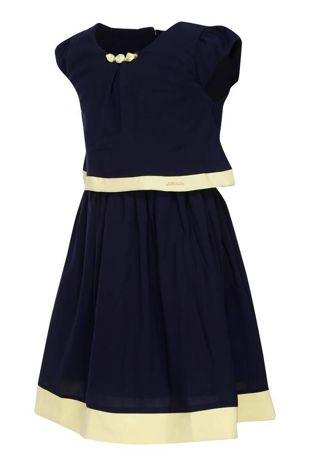 Girls Round Neck Solid Flared Dress