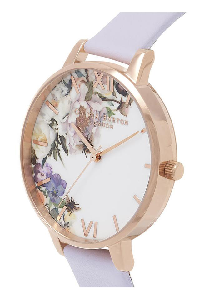 Womens Floral Round Dial Leather Analogue Watch - OB16EG110W