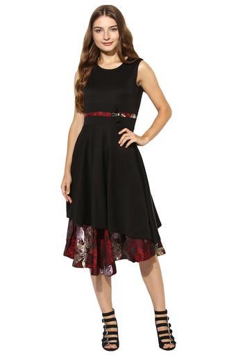 Womens Round Neck Solid Layered Dress