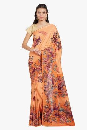JASHNWomens Peacock Printed Saree