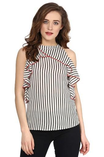 ead462653146c4 Buy SASSAFRAS Womens Band Neck Stripe Ruffle Top | Shoppers Stop