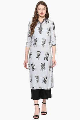 JUNIPER Womens Print Long Kurta With Palazzos